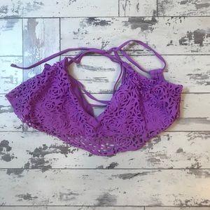 Purple eyelet tie bikini